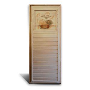 Дверь с резной вставкой «Кадушка», «Банька»
